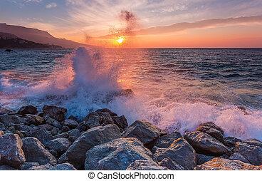grande, mar, onda, fraturas, contra, um, pedra, em,...