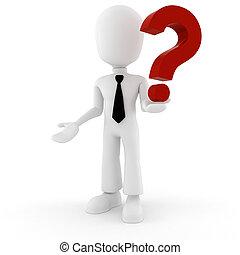 grande, marca pergunta, 3d, vermelho, homem