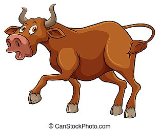 grande, marrom, touro