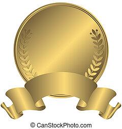 grande, medalha ouro, (vector)