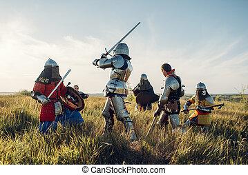 grande, medieval, cavaleiros, luta, combate