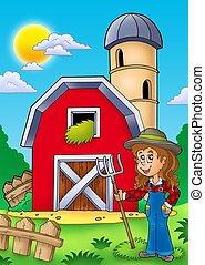 grande, menina, celeiro, vermelho, agricultor