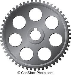 grande, metal, engranaje, -, vector