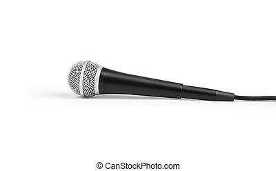 grande, micrófono, negro, fondo blanco