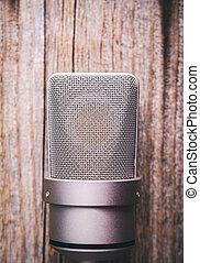 grande, microphone., condensatore, diaframma, studio