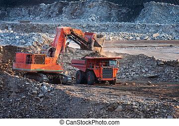 grande, minería, descargar, camión, carbón