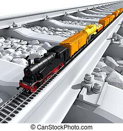 grande, miniatura, pistas, tren, modelo, paseos