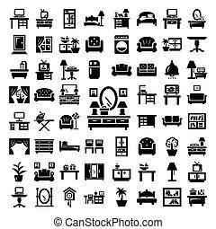 grande, mobília, jogo, ícones