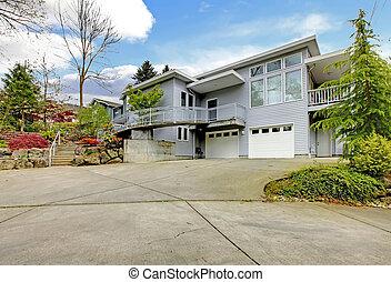grande, moderno, gris, driveway., exterior, hogar