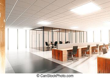 grande, moderno, soleado, oficina