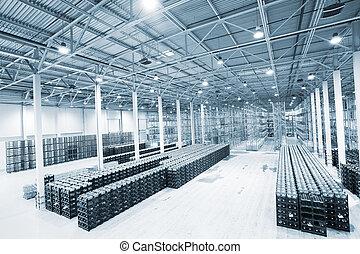 grande, moderno, vacío, almacén