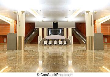 grande, moderno, vestíbulo, con, granito, piso, columnas, y,...