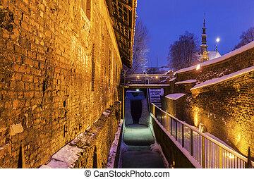 grande, moinho, em, gdansk, à noite