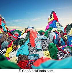 grande, montão, coloridos, roupas