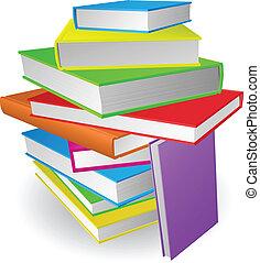 grande, montón libros, ilustración