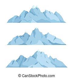 grande, montaña, conjunto, vector, ilustración