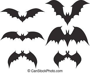 grande, morcego, silueta, asas