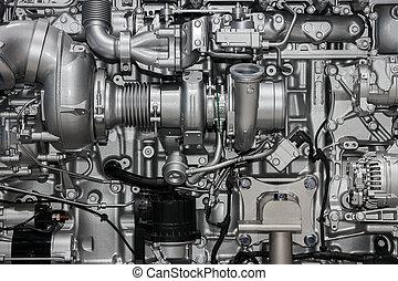 grande, motor, diesel