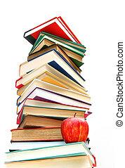 grande, mucchio libri, isolato, bianco