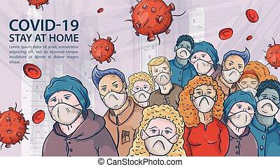 grande, muito, contorno, ilustração, máscaras, coronavirus, aviso, covind, inscrição, torcida, moléculas, 2019-ncov, pessoas, vírus, vermelho, médico