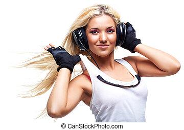 grande, mujer, joven, auriculares