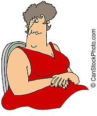 grande, mujer, vestido, rojo