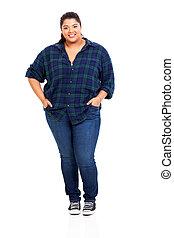 grande, mulher, calças brim