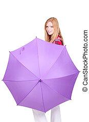 grande, mulher, guarda-chuva, jovem, retrato