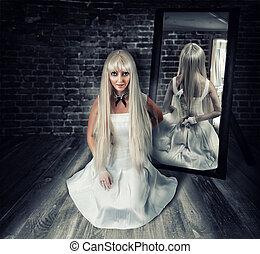 grande, mulher, reflexão, faca, espelho