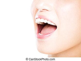 grande, mulher, saudável, jovem, closeup, dentes, branca
