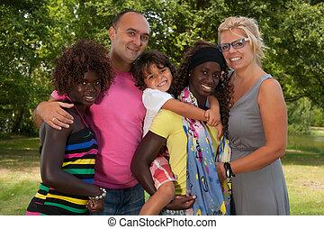 grande, multi, familia feliz