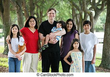 grande, multiracial, familia , de, siete