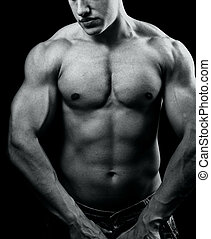 grande, muscolare, sexy, uomo, con, potente, corpo