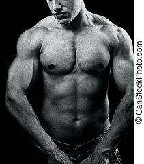 grande, muscular, sexy, hombre, con, fuerte, cuerpo