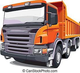 grande, naranja, camión