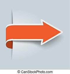 grande, naranja, flecha