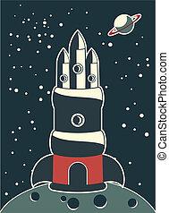 grande, nave espacial, en, un, superficie