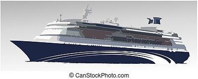 grande, nave, passeggero