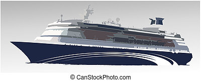 grande, navio, passageiro