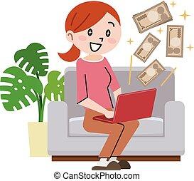 grande, negócio mulher, dinheiro, laptop, jovem, online