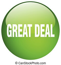 grande, negócio, verde, redondo, gel, isolado, empurre botão