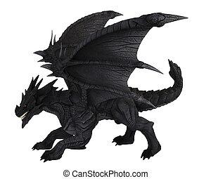 grande, negro, dragón, -, vista lateral