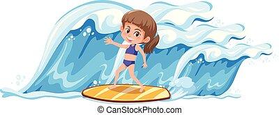 grande, niña, surf, onda