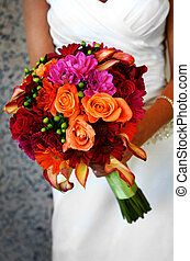 grande, noiva, segurando, coloridos, buquet