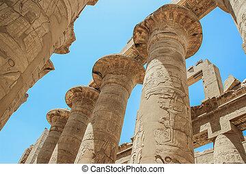 grande, nuvens, templos, egito, luxor, thebes)., hypostyle, karnak, (ancient, corredor