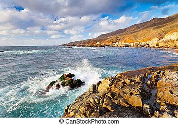 grande, océano, sur, costa pacífica