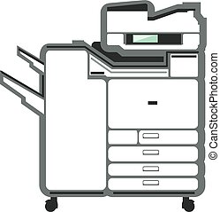 grande, oficina, impresora, copiadora