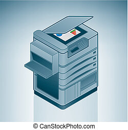grande, oficina, impresora láser