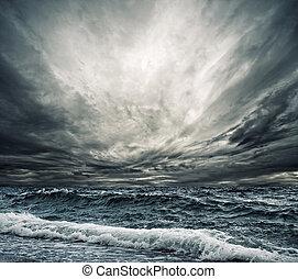 grande, onda océano, rotura, el, orilla