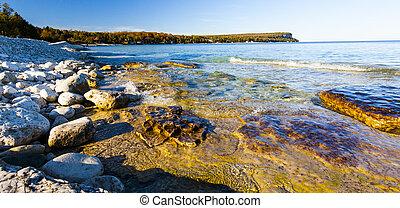 grande, ontario, shoreline, roccioso, scenico, baia...